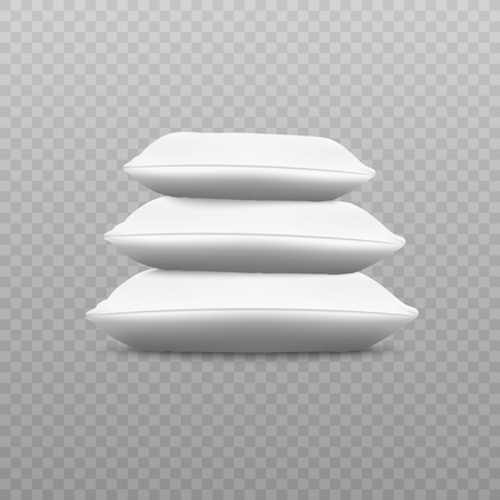 White pillow stack from side view, three realistic cushions on top of each other, clean empty pillowcases for home bedding decoration or textile ad, isolated vector illustration  イラスト・ベクター素材