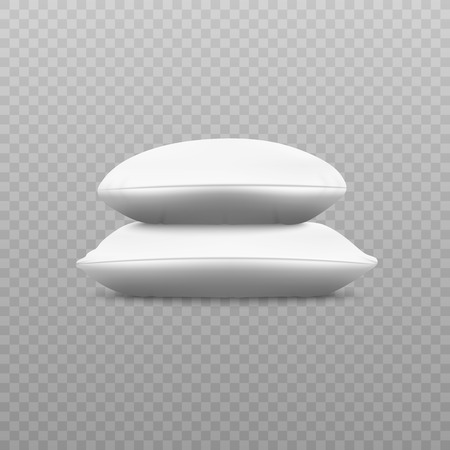 Two white soft pillow stack from sideways view, square and round fluffy cushions lying on top of each other, bedding textile and bedroom decoration object, 3d realistic isolated vector illustration