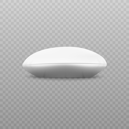 White round pillow - side view lying on surface, realistic 3d cotton cushion in circle shape with shadow and side seam, home bedding and bedroom decor, isolated vector illustration Illustration
