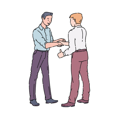 Two men doing a handshake, cartoon characters meeting and approving a business deal or teaming up for partnership, businessman agreement gesture, isolated hand drawn vector illustration