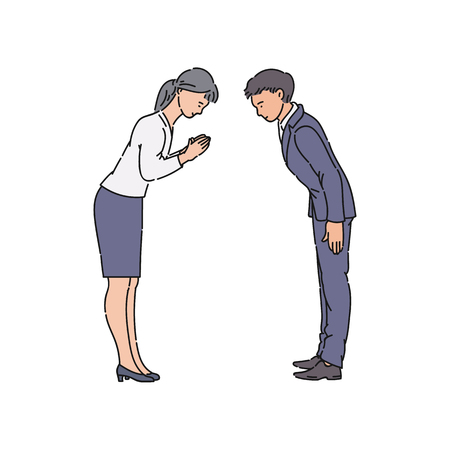 Two people bowing and greeting each other before business meeting. Asian man and woman bow and smile to show respect, isolated hand drawn cartoon characters - vector illustration on white background Stock Illustratie