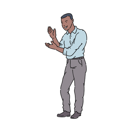 A black young African American man in a shirt and pants smiles and claps his hands. African American man claps his hands, a gesture of approval, joy and respect, applause. Vector flat illustration.