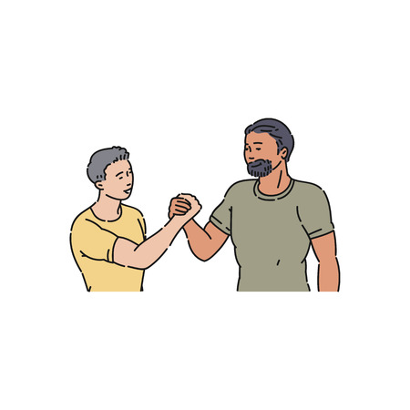 Handshake men and boys in tshirts, guy shaking hands. A young man shakes hands with a bearded guy. Welcome gesture of respect and approval, flat cartoon vector illustration.