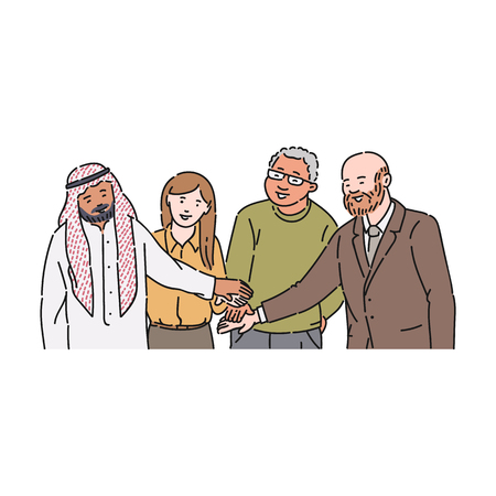 The gesture of agreement and respect between people of different races, ages and genders. Partnership and respect in a group, gesture of agreement between colleagues, vector flat illustration.