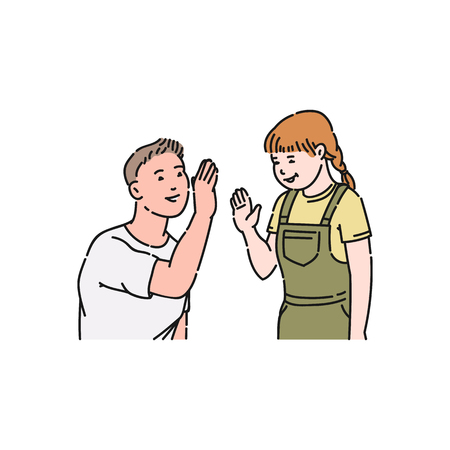 A young man in a tshirt gives five and claps hands to a little girl. Relationship, gesture of approval and respect, vector flat cartoon illustration.