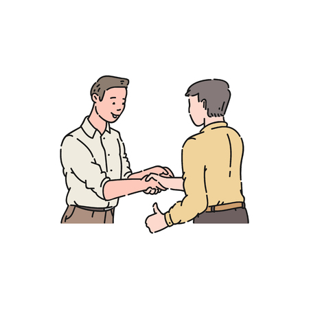 Two men in shirts came to an agreement, a business handshake of guys, a gesture of respect and approval thumbs up. Flat isolated vector illustration in cartoon style. Ilustração