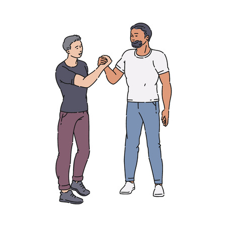 Handshake of standing men or guys in full growth, male handshake. A young guy in a tshirt and jeans shakes a bearded hand, a welcome gesture of respect. Flat cartoon vector isolated illustration. Illustration
