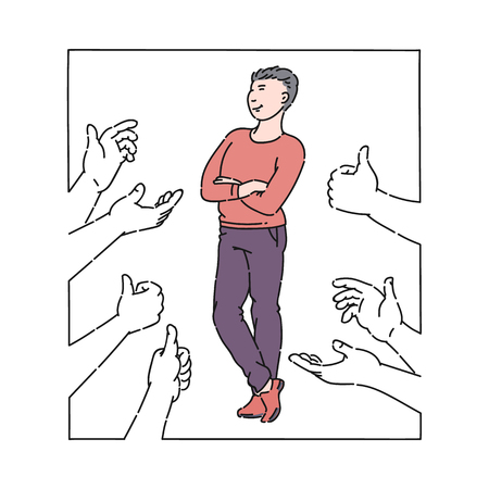 A proudly standing man expressing approval with a thumbs up gesture. A man is accepted and respected with the help of a thumbs up gesture, vector isolated flat illustration in cartoon style.