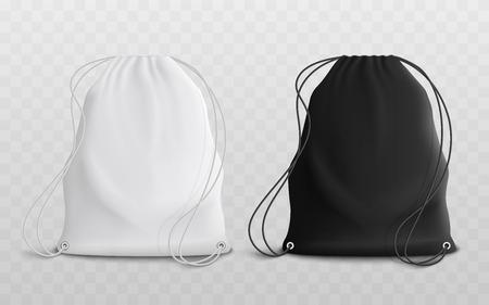 Conjunto de mochilas con cordón en blanco para ropa deportiva o escolar y maqueta de zapatos 3d ilustración vectorial realista. Estuche o pack textil en conjunto blanco y negro de dos plantillas.