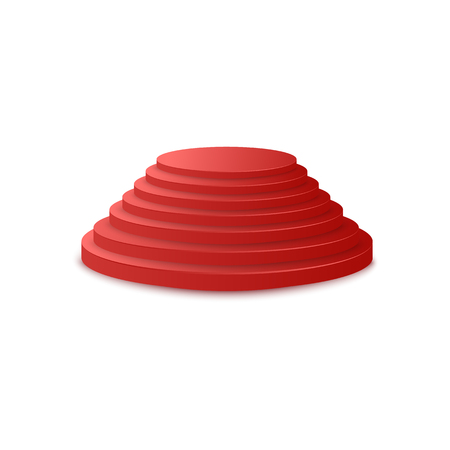 Red carpet award ceremony round stepped podium or pedestal 3d realistic vector illustration isolated on white background. Festive events staircase platform stage icon.