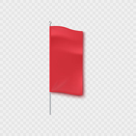 Blank red textile vertical advertising banner standing on a pillar or pole mockup. Blank cloth photorealistic marketing display vector illustration isolated on transparent background.