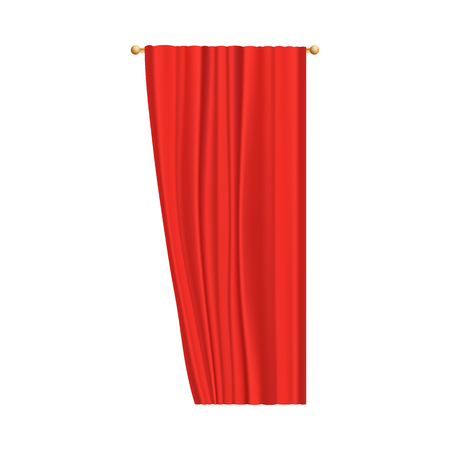 Red velvet curtain for theater stage performance, one single silk curtain opening from the right side hanging on golden rod. Realistic vector illustration isolated on white background.