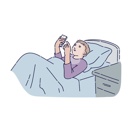 Young man with insomnia lying in bed holding smartphone, teen cartoon character addicted to technology unable to sleep in bedroom, isolated hand drawn vector illustration on white background.