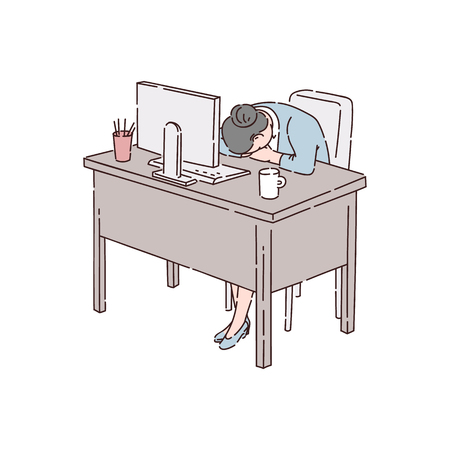 Woman employee, an office worker or a businesswoman asleep on the job because of insomnia. A woman sleeps at the office table during working hours, vector flat illustration of insomnia. Illusztráció