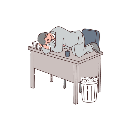 A tired man is an office worker, employee or businessman sleeping on an office table because of insomnia. Flat vector illustration in cartoon style.