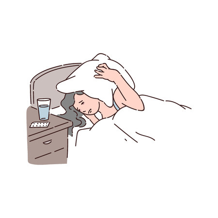 Sleepless woman suffers from insomnia and covering her head with pillow vector illustration isolated on white background. Female lying in her bed without sleep. Ilustrace