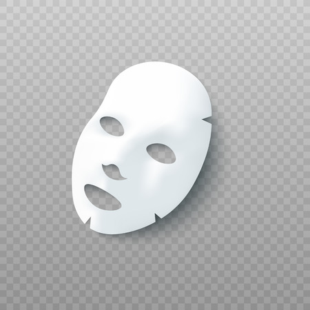 Masque cosmétique facial en feuille blanche 3d illustration vectorielle réaliste isolée sur fond transparent. Maquette pour l'emballage de produits cosmétiques de beauté et de traitement du visage.