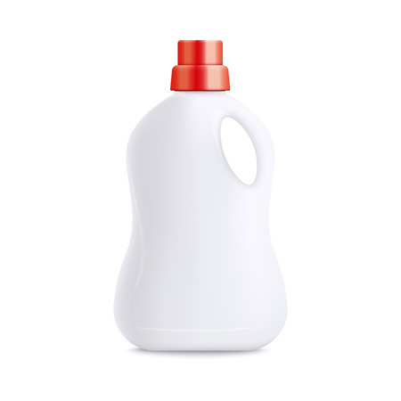 White plastic laundry detergent bottle with red cap - blank realistic mockup for product packaging. Empty template of cleaning liquid, isolated object on white background - vector illustration