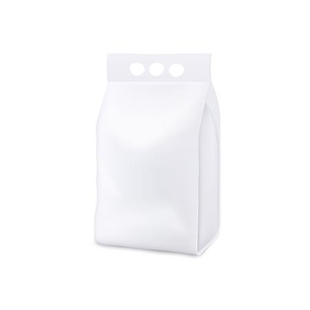 Proszek do prania wstać pakiet etui realistyczna makieta na białym tle. Projekt szablonu pustej białej plastikowej torby z uchwytem na trzy otwory na palce, ilustracji wektorowych Ilustracje wektorowe