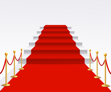 Luxury red carpet staircase background, success and fame walk for vip gala celebration event or Hollywood movie premiere, staircase with rope poles - isolated realistic vector illustration Stock Vector - 128170130