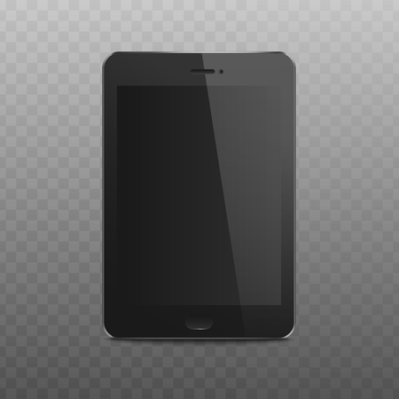 Black tablet mockup with realistic blank screen. Modern technology device with locked display and 3D texture - isolated vector illustration on transparent background
