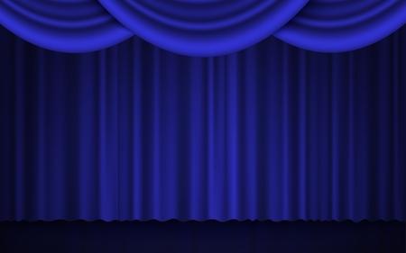 Foco en el escenario, teatro o cine, cortina cerrada, ilustración vectorial realista 3d en azul y negro. La actuación o la ceremonia de entrega de premios muestran el concepto clásico de apertura.