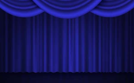 Spotlight on stage theater or cinema closed curtain 3d realistic vector illustration in blue and black. Performance or awards ceremony show opening classic concept. Vettoriali