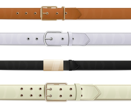 Realistic leather belt set with metal buckles, collection of brown, white, black, beige belts with 3d stitched texture and seamless line border, isolated vector illustration on white background