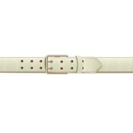 Blanc boutonné à boucle en métal argenté classique ceinture large ou ceinture avec deux lignes de trous illustration vectorielle réaliste isolée sur fond blanc élément de mode.