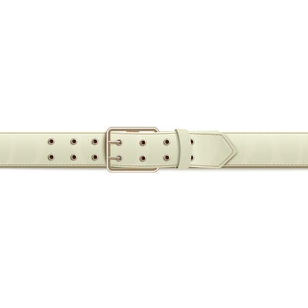 White buttoned to classic silver metal buckle wide belt or waistband with two lines of holes realistic vector illustration isolated on white background fashion element. Çizim
