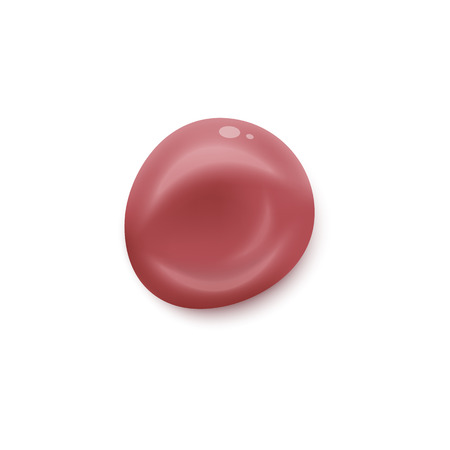 Lipstick drop sample in round blob shape, pink red liquid beauty product isolated on white background, makeup color paint texture - realistic vector illustration Ilustração