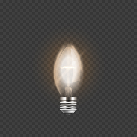 Light bulb or electric burning lamp 3d realistic vector illustration isolated on transparent background. Object for infographics and presentations or web banner. Illustration