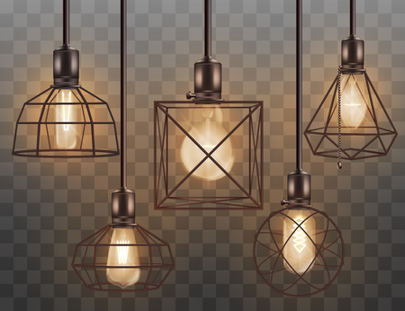 Hanging glass electricity light bulb in wire cage chandelier interior vintage lighting set of vector 3d realistic illustrations isolated on transparent background.