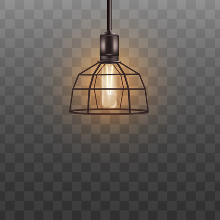 Geometric lamp shade with electric lightbulb, black modern metal lampshade hanging from ceiling. Interior design decor with electricity on, realistic 3D vector illustration on transparent background.