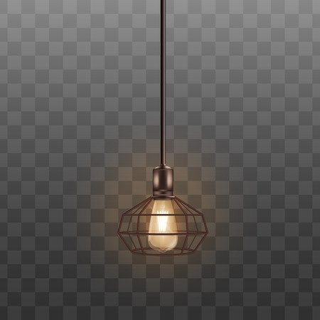 Black loft lamp with incandescent lightbulb, realistic interior design decoration. Warm hot lampshade in geometric style hanging from ceiling on long wire, isolated realistic vector illustration