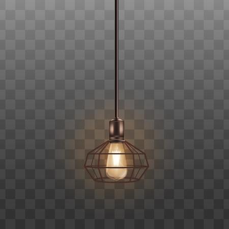 Lámpara loft negra con bombilla incandescente, decoración de interior realista. Pantalla de lámpara caliente cálida en estilo geométrico que cuelga del techo en un cable largo, ilustración vectorial realista aislada