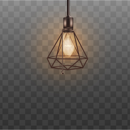 Loft style ceiling lamp for hipster interior design. Realistic black designer lampshade in triangle diamond shape, cool lightbulb with bead chain switch rope - isolated transparent vector illustration