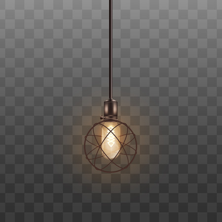 Realistic round electric lamp with glowing light bulb. Cool interior design element hanging from ceiling, atom circle themed lampshade isolated on transparent background, vector illustration