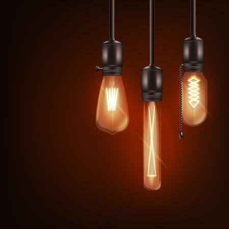 Satz von 3d unterschiedlich geformten leuchtenden Glühbirnen, die an Drähten im realistischen Stil hängen, Vektorillustration einzeln auf dunklem Hintergrund. Retro-Glühlampen-Design von Edison für Loft- oder Vintage-Interieur