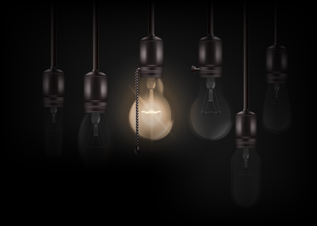 Glowing light bulb is hanging between a lot of turned off ones realistic style, vector illustration isolated on black background. Vintage or loft incandescent Edison lamps hanging on wire Illustration