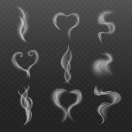 Steam effect from hot drink or smoke of cigarette or vapor realistic set with various heart and swirl shapes on transparent background isolated realistic vector illustration.