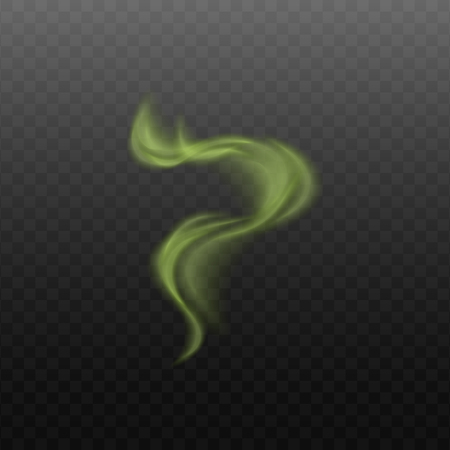Smoke like cigarette or steam from hot products of green color hinting at the toxicity or magic of the product vector illustration isolated on a transparent background.