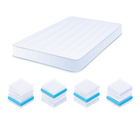 Orthopedic mattress and its different material layers set realistic style, vector illustration isolated on white background. Bed mattress and its structure types isometric infographics