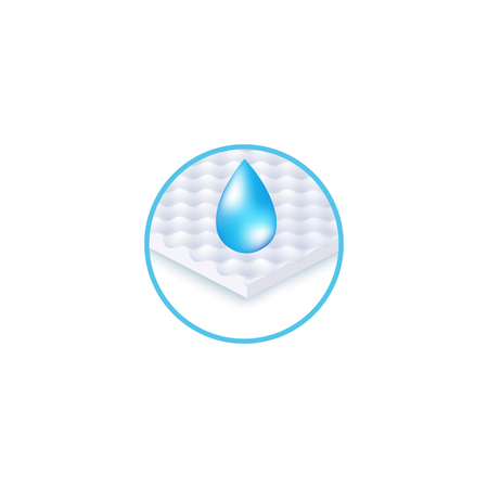 Round icon of waterproof fabric layer and drop realistic style, vector illustration isolated on white background. Symbol of wet resistant material, water repellent section of mattress