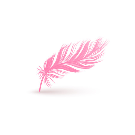 Fluffy pink feather with smooth texture isolated on white background. Light bird wing plume in pastel feminine color floating in air, realistic quill object vector illustration  イラスト・ベクター素材