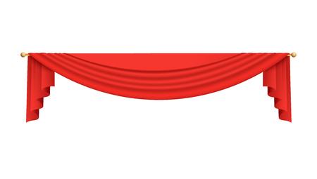 Teatro di scena o film tenda superiore rosso illustrazione vettoriale isolato su sfondo bianco. Tessuto classico drappeggio di sfondo appeso sull'elemento realistico 3d superiore.