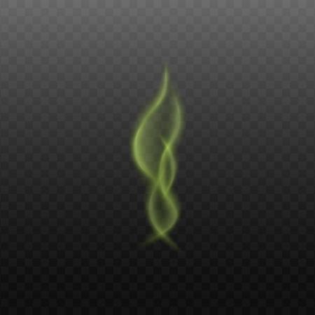 Nubes de marihuana o vapor niebla ilustración vectorial realista 3d aislado sobre fondo transparente. Tóxico o mágico vapor verde suave o humo verde fluyendo. Ilustración de vector