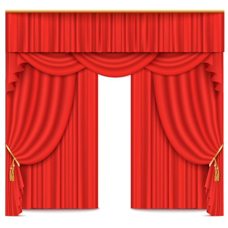 Stage theater or movie curtain red vector illustration isolated on white background. Fabric performance classic stage decoration drapery 3d realistic element. Illustration