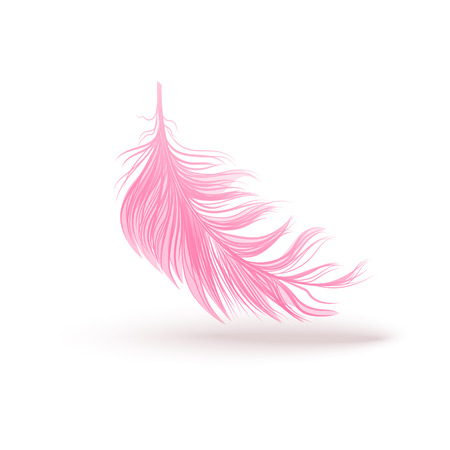 Pnk fluffy swirled feather close up 3d realistic vector illustration isolated on white background. Design template clipart of angel or bird detailed feather.
