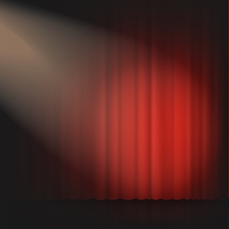 Spotlight on stage theater or cinema closed curtain 3d realistic vector illustration in red and black. Performance or awards ceremony show opening classic concept.